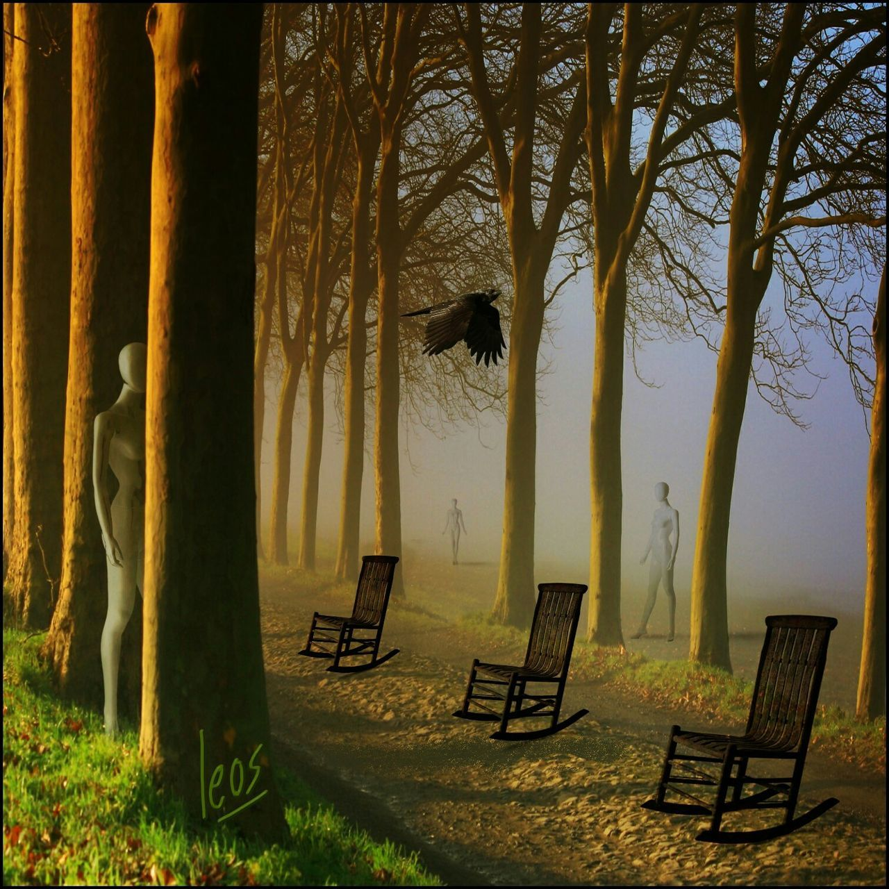 chair, tree, tranquility, nature, tree trunk, landscape, day, outdoors, no people, beauty in nature, scenics, grass, sky