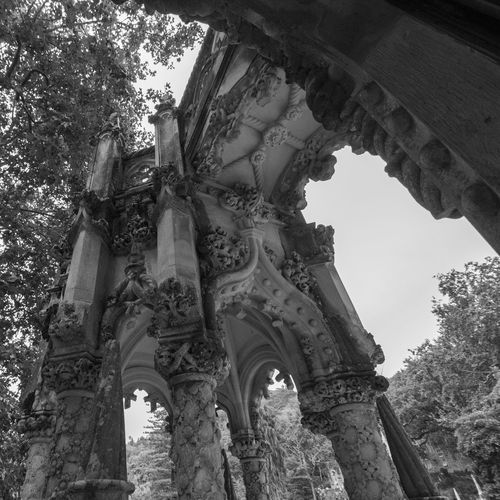 Castle Portugal Quinta Da Regaleira Sintra Arch Architectural Column Architecture Blackandwhite Building Exterior Built Structure Low Angle View No People Ornate Outdoors Sky