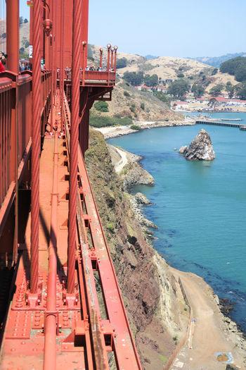 View of golden gate bridge over sea
