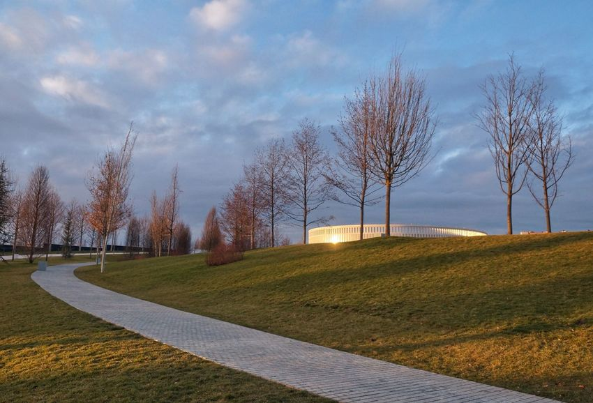 Architecture Modern Stadium Sky Tree Cloud - Sky No People Outdoors Road Grass Tranquility Scenics Landscape Panoramic Beauty In Nature Nature