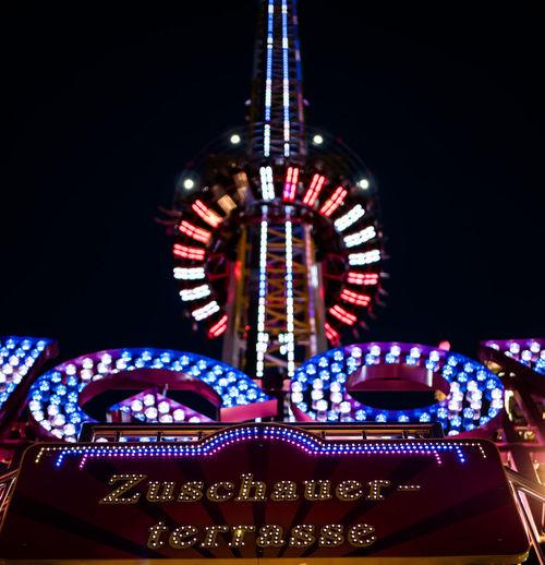Zuschauerterrasse Night Nightphotography Night Lights Nightlife Night View Illuminated Amusement Park Amusement Park Ride Architecture Carousel Ferris Wheel