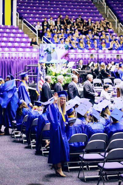 Our daughter graduated from high school with the Class of 2018! 2018 Celebration Graduation Student Accomplished Adult Blue Chair Crowd Graduate Group Of People In A Row Large Group Of People Men Performance Purple Real People School Stage Standing Women