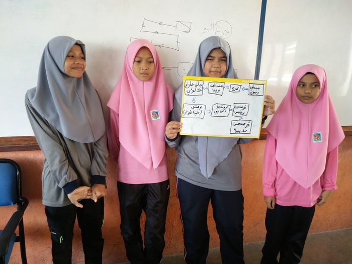 Girl with friends holding chart in classroom at school