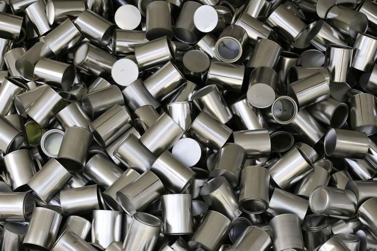 Full frame shot of metallic jars