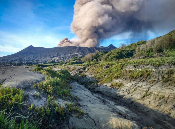 Near eruption pf Mt. Bromo Mountain Landscape Beauty In Nature Sky Scenics - Nature Smoke - Physical Structure Environment Land Volcano Day Geology Non-urban Scene Nature Cloud - Sky No People Erupting Plant Power In Nature Tranquil Scene Emitting Outdoors Air Pollution Pollution Volcanic Crater