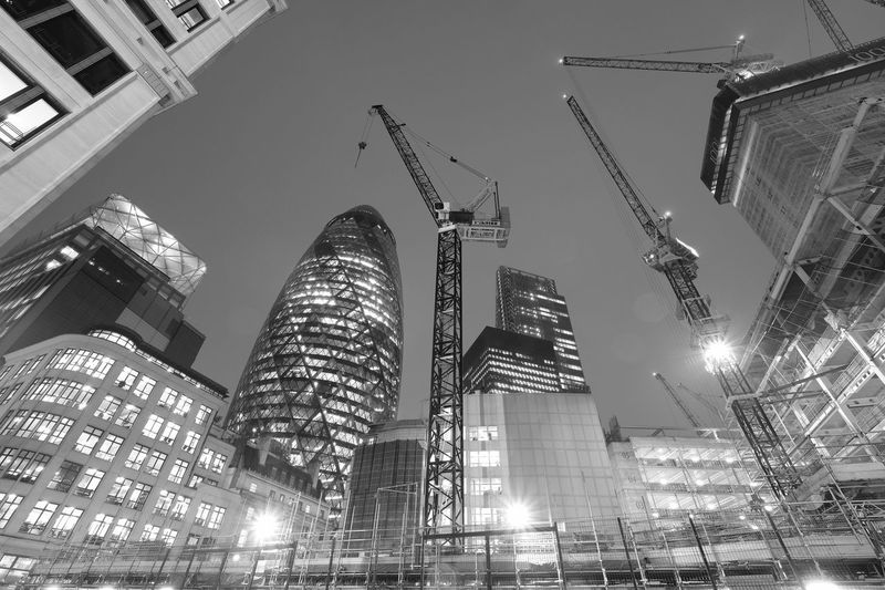 Gherkin at Night Architecture B&w Building Buildings Capitol City Construction Cranes Design Gherkin Gherkin Tower Glass Glass Reflection Illuminated London Looking Up Modern Modern Architecture Neo-futurism Night Norman Foster Reflections Shape Structure Tower