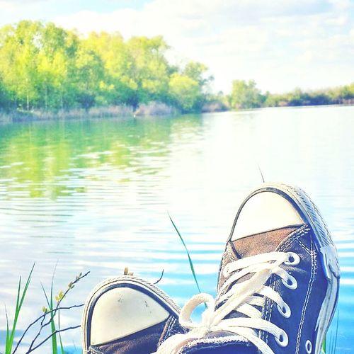 Chilling Lake Lake View Trees Feet Shoes Chucks Converse All Star Brunswick Braunschweig