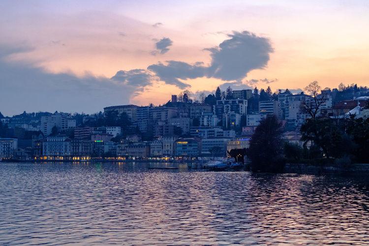 Lugano seen a across the lake at dusk.