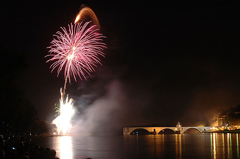 fireworks in Avignon , France Avignon Avignon, France France Arts Culture And Entertainment Bridge Bridge - Man Made Structure Celebration Event Exploding Firework Firework - Man Made Object Firework Display Illuminated Motion Night No People Outdoors Reflection River Water