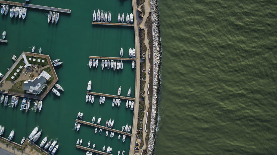 Aerial scenic view of marina and riverside