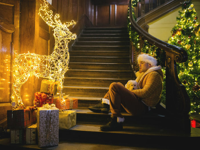 New year is near already, what plan do you have?? *_* Adult Adults Only Christmas Contemplation Full Length Human Body Part Illuminated Indoors  Men Night One Man Only One Person Only Men People Sitting Statue Holiday Moments Holiday Moments