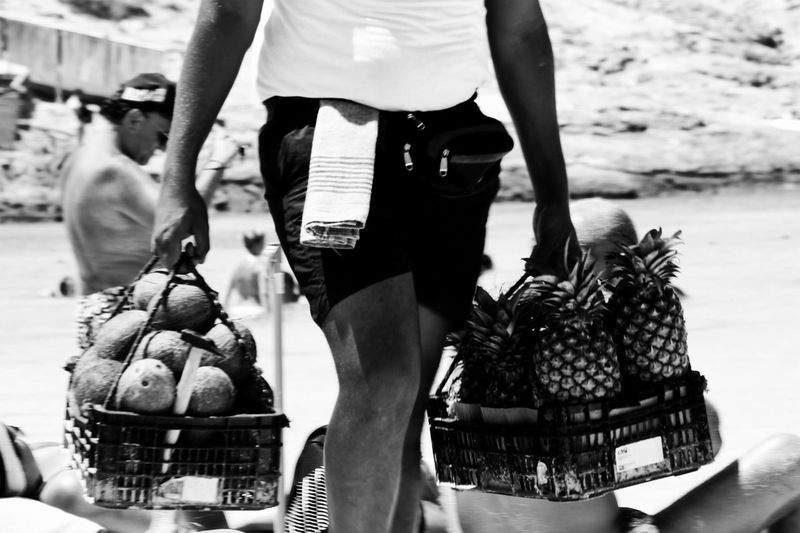 Food Low Section Food And Drink Men Person Casual Clothing Focus On Foreground Person Outdoors Day Freshness Black And White B&w Beach Life Coconut Pineapple Formentera Illetes Monochrome Photography
