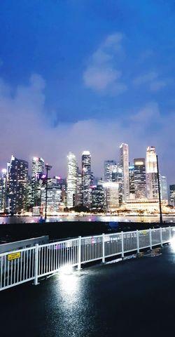 City Cityscape Urban Skyline Illuminated Modern Skyscraper Water Nightlife Ice Rink Bridge - Man Made Structure