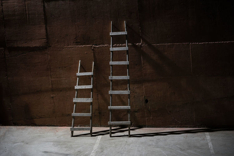 Wooden ladders outdoors during night