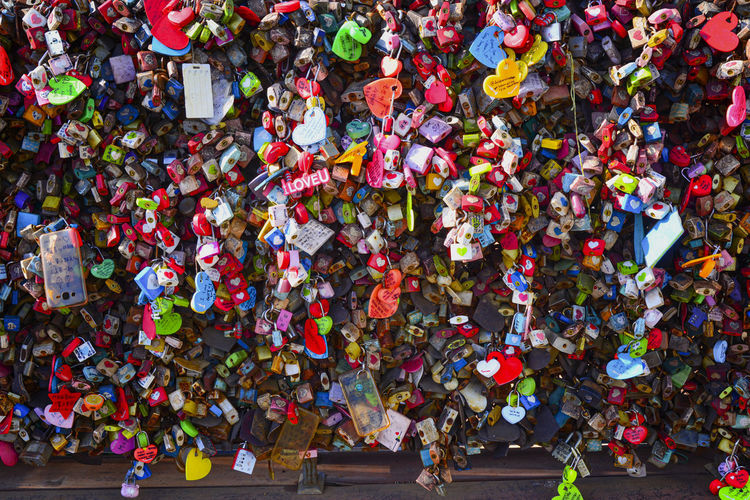 christmas tree Multi Colored Abundance Large Group Of Objects Positive Emotion Love No People Emotion Day Full Frame Outdoors Padlock Variation Backgrounds Love Lock High Angle View Lock Security Hanging Safety Protection