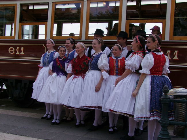 Hungarian Dance Troupe Budapest Composition Fun Hungary Shaded ❤ Tourist Attraction  Tram Capital City Celebration Ceremony Dance Troupe Dancers Full Frame Full Length Portrait Hungarian Dancers Large Group Of People Life Events Outdoor Photography Red Blue And White Colour Sdults Smiling Standing Traditional Costumes Travel Destination Women
