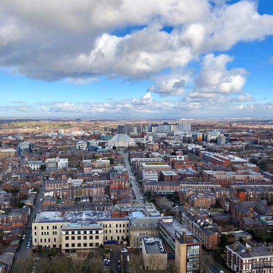 Views of Liverpool showing the Metropolitan Cathedral from the top of Liverpool Cathedral 🌤 Landscape Liverpool Sky Architecture Cloud - Sky Cityscape Building Exterior Built Structure City Crowded Day Outdoors High Angle View Travel Destinations Aerial View Nature