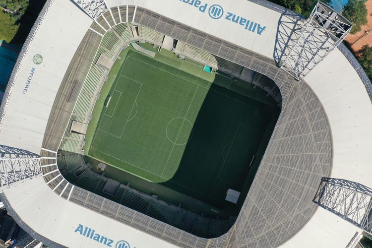 High angle view of text on soccer field