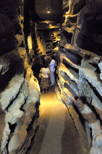 Catacombs of Santa Savinilla Adult Architecture Catacomb Catacombe Cave Etruria Full Length Graves Indoors  Italy Lazio Men People Real People Religion Religion Architecture Tuff Via Amerina
