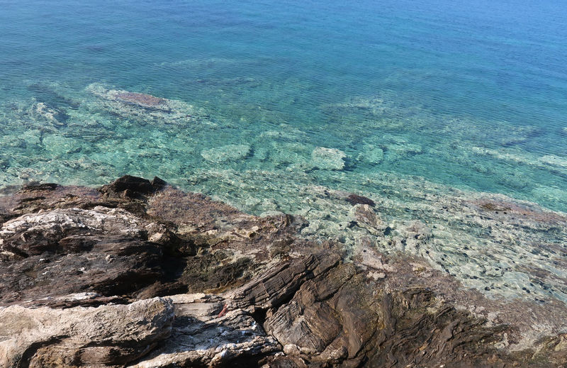 Reef sea view Coastline Blue Coast Detail Idyllic Nature No People Ocean Outdoors Purity Reef Rock Rock - Object Rock Formation Scenics - Nature Sea Sithonia Stone Summer Tranquil Scene Tranquility Transparent Turquoise Colored Water Water_collection