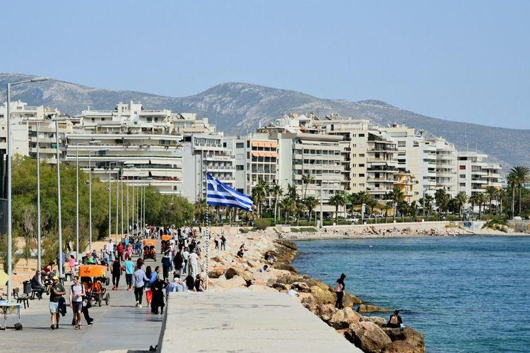 Greece Sea And Sky Faliron Seaside Sunlight Attika