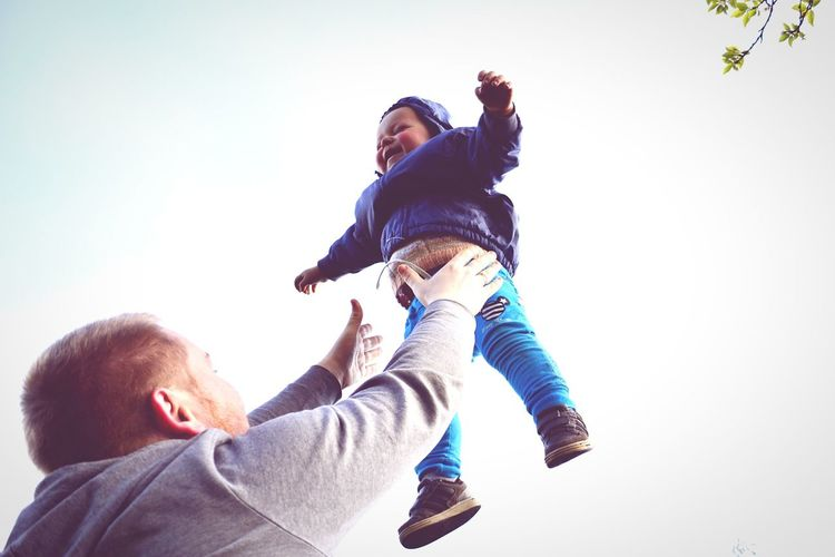 Child Childhood Boys People Sky Blue Fun Males  Day Happiness Men Outdoors Flying Fatherhood Moments Father & Son Familie TCPM Family Flying Kid BYOPaper! Live For The Story EyeEmNewHere Let's Go. Together. Sommergefühle EyeEm Selects This Is Family