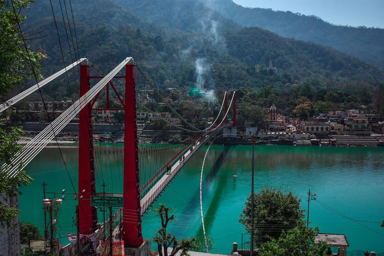 Ram julha , Rishikesh Travel Travel Destinations Bridge - Man Made Structure Architecture Tree Transportation Built Structure Aerial View Outdoors Water No People Connection Suspension Bridge Nature Sky Day Ganga River Ram Julha Holy Place Haridwar,India Incredible India Indianstories Nikon D3400 Indianphotographer EyEmNewHere Perspectives On Nature