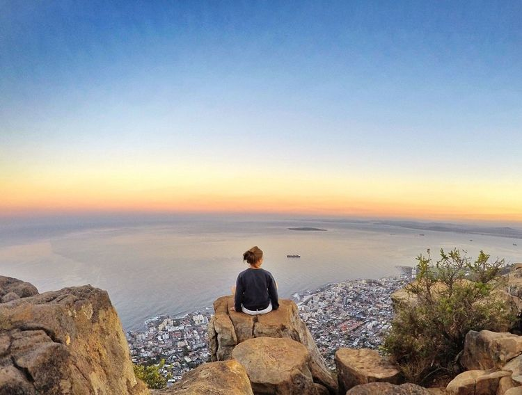 Taking in the view on Lionshead Capetown Cape Town Capetownbeauty Lionsheadpeak Scenics Sunrise Viewpoint LivingOnTheEdge