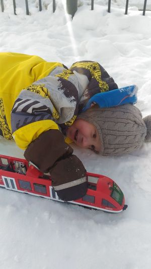 One Person Children Only Childhood Day Child Toy Express It In Your Own Way Train Rail Lovely Weather Snow Real People