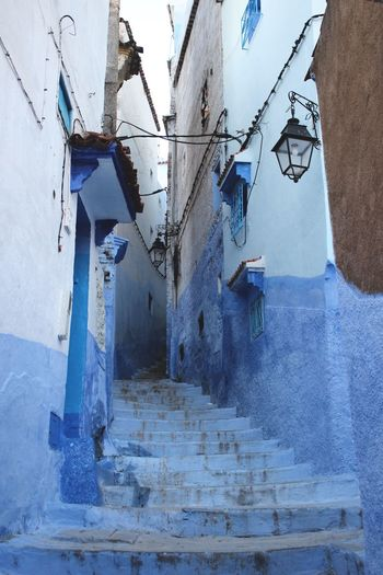Architecture B Blue City Blue Wall Building Exterior Built Structure Chaouen Chefchaouen Chefchaouen Medina Chefchaouen Rif Mountains Day Moroccan Architecture Morocco No People Outdoors Stairs Travel Destinations Travel Photography Traveling