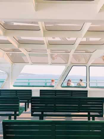 Bench Ferry Ferryboat Fresh On Eyeem  Adult Architecture Built Structure Ceiling Day Ferry Boat Ferry Views Leisure Activity Lifestyles Low Angle View People Public Transportation Rail Transportation Real People Seat Sitting Staircase Transportation Travel Window Women