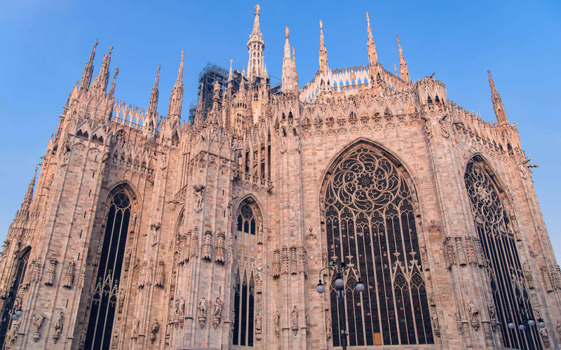Architecture Building Exterior Built Structure Religion Belief The Past Place Of Worship Spirituality Travel Destinations History Building Travel Low Angle View Sky Tourism Day Arch No People Outdoors Gothic Style Ornate Milan Duomo