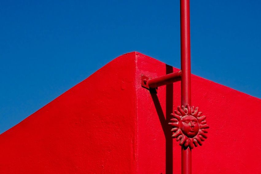 Vibrant Color Architecture Minimalistic Minimalist Photography  Red Blue Abstract Mexican Colors Contrast Building Looking Up Mexico