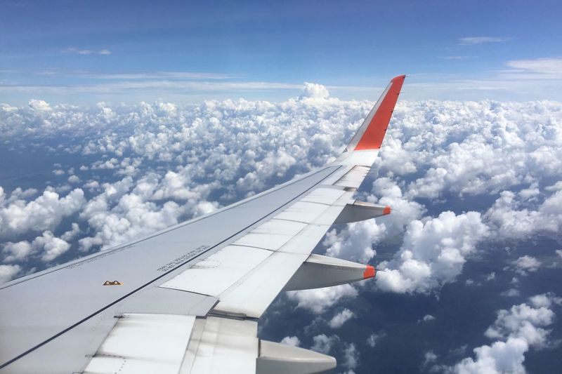 Airplane Cloud - Sky Sky Transportation Journey Airplane Wing Day Aircraft Wing Blue Travel Aerial View No People Mode Of Transport Nature Flying Air Vehicle Outdoors Scenics Beauty In Nature