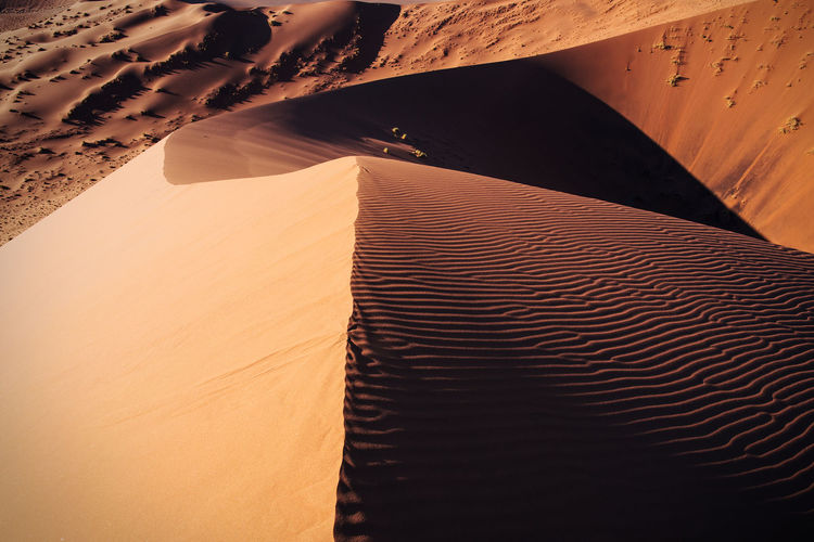 High angle view of sand dune at namib desert