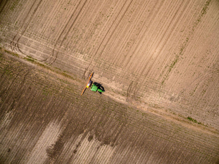 Full length of combine harvester from above