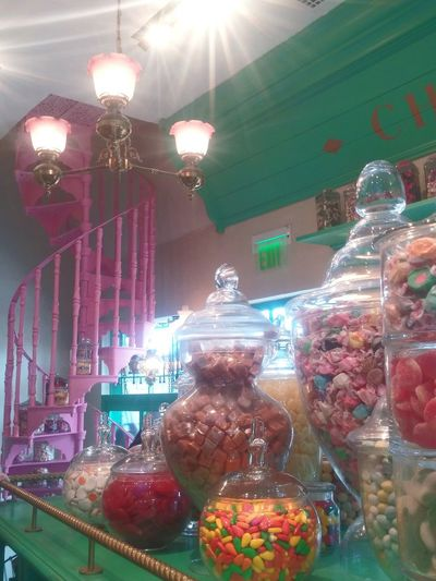 Pastel Power Honeydukes Staircase Candy Store Pink Spiral Staircase Universal Studios  Universal Harry Potter Candy Retro Spiral Staircase Pink Gum Drops Candy Jars