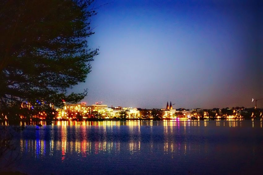 Alster Citylight Reflection Blue Hour Citylake Alster View Water Illuminated Reflection Sky Night City Architecture Waterfront River No People Dusk Transportation Clear Sky Plant Outdoors Tree Nature Building Exterior Built Structure