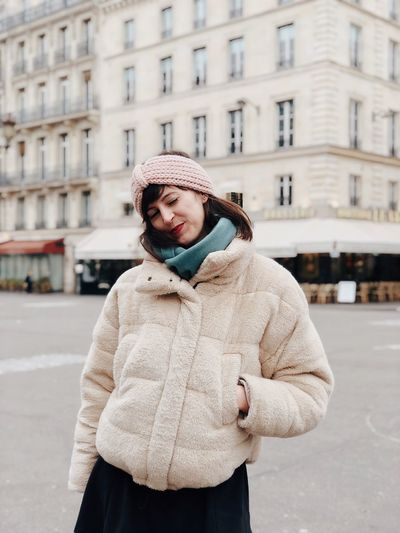 Paris Winter One Person Architecture Building Exterior City Warm Clothing Clothing Knit Hat Cold Temperature Scarf Young Adult