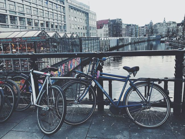 Bicycle Transportation Mode Of Transport City Architecture Land Vehicle Built Structure Building Exterior Stationary Outdoors Day No People Sky IPhone Photography Amsterdamcity Travel VSCO IPhone Dutch City Travel Photography City Life EyeEmNewHere Photographer PhonePhotography