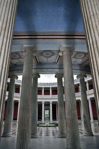 Architectural Column Architecture Art Athens Built Structure Capitals  Column Frescos Geometry Greece History Neoclassical Patio Symmetry Vertical Symmetry Zappeion
