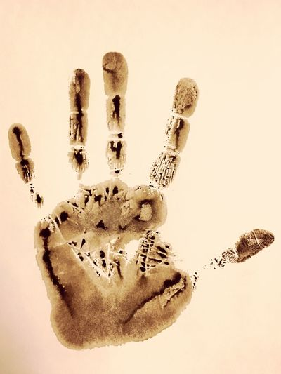 Hand Print Made From Paint Off Of An Adult Males Right Hand. Mitcham, England. High Five Technology Identification Security Fingerprint Fingers Palm Print Palm Five Human Adult England Mitcham Grunge Art Effect Ink Wet Paint Texture Male Right Hand Hand Print EyeEm Selects Studio Shot White Background Close-up Human Hand One Person