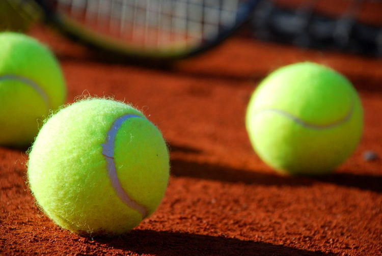 Tennis balls on clay court Ball Balls Clay Close Up Close-up Playing Tennis Red & Yellow ROLAND GARROS Rolandgarros Selective Focus Sport Sport Time Sports Sports Life  Sports Photography Tennis Tennis Court Tennis 🎾 Tennisball Tenniscourt The Color Of Sport