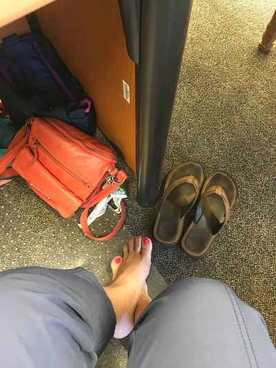 Work days Lumch Casual Day Flip Flops Feet Still Life Workdays One Person Low Section Real People Human Body Part Body Part Human Leg Lifestyles Personal Perspective Women Sitting