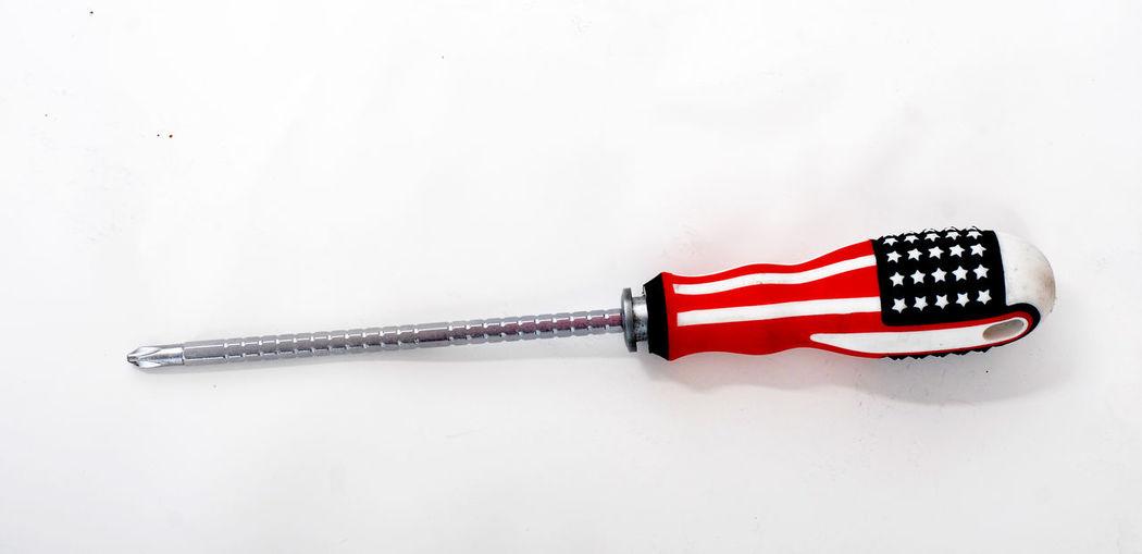 USA USA FLAG Close-up Flag Red Screw Screwdriver Usa Fa White Background