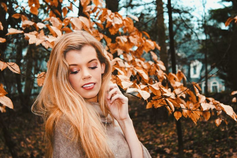 Her beauty Grace Beautiful Woman Love Peace And Tranquility Autumn One Person Young Adult Leaf Plant Part Beauty Tree Nature Hair Clothing Outdoors Hairstyle Beautiful Woman Lifestyles Plant Nature Change Long Hair Young Women