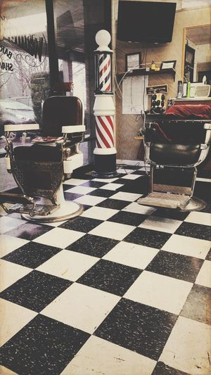 """Classic With a Touch of Tech"" An old fashioned men's barber shop in the town of Walnut Creek, California, but with a touch of modern tech in the big screen TV. Barber Barbershop Barber Shop Barber Pole Haircuttime Old-fashioned Classic Business Small Business Homey"