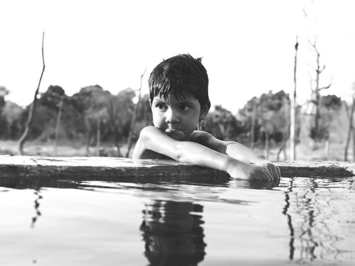 Summer Village Rural EyeEm Selects Blackandwhite Tree Water Swimming Child Childhood Boys Portrait Summer Relaxation Wet Hair Standing Water