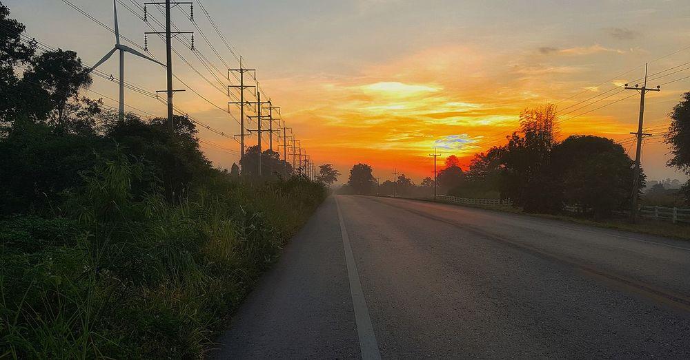 Tree Sunset Road City Electricity Pylon Sky Cloud - Sky Power Cable