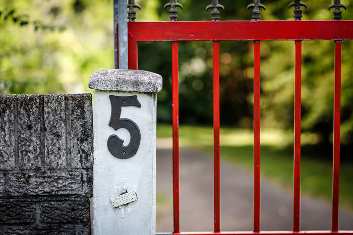 5 5 Entrance Gate Gate Post Day Five Gate Number House Number House Number On Wall Metal No People Number Outdoors Property Entrance Red Street Number Street Photography